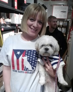 Houdini with Sophie Gamand, renowned pet photographer and Sato volunteer