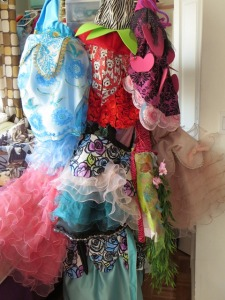 Some of the incredible designer dresses that Cubby and Ginger wear. Desgned by none other than their own mom